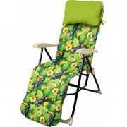 Кресло-шезлонг складное с подножкой и матрасом Haushalt HHK-5/T - принт с туканами