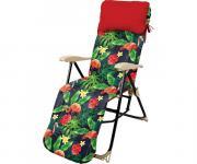 Кресло-шезлонг складное с подножкой и матрасом Haushalt HHK-5/F - принт с фламинго