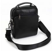Кожаная черная мужская классическая сумка-планшет средних размеров