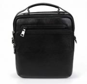 Вместительная кожаная черная мужская классическая сумка-планшет средних