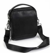 Черная кожаная мужская молодежная сумка-планшет средних размеров