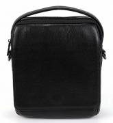 Черная вместительная кожаная мужская молодежная сумка-планшет