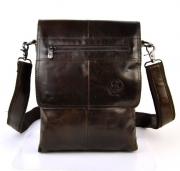 Коричневая мужская сумка-планшет через плечо и с ручкой из натуральной кожи