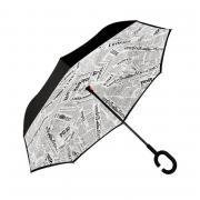 Зонт наоборот (Бело-черные надписи) UPBRELLA