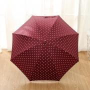 Зонт Женский облегченный зонт-трость, с защитой от УФ, ветрозащитный, 8 спиц, в стиле ретро, мелкий горох (бордовый)
