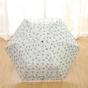 Зонт Суперлегкий зонт, ручка крюк, женский, с защитой от УФ, механика, 6 спиц (белый, принт- вишенки)
