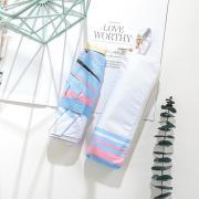 Японский миниатюрный плоский зонт с защитой от УФ, 6 спиц (белый/ голубой/ розовый)