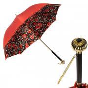Зонт-трость женский механический Pasotti Coral Papavero Globe красный/черный/белый