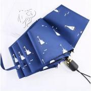 Зонт Женский облегченный зонт, с защитой от УФ, 8 спиц, принт- Утки (синий)