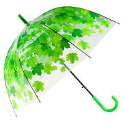 Прозрачный зонт-трость «Зелёные листья»
