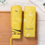 Миниатюрный зонт с защитой от УФ, 6 спиц, принт-фрукты Банан (желтый)
