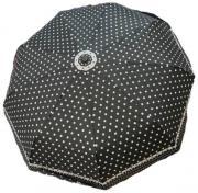 Женский зонт автомат Popular черный в горошек AM060305