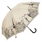 Бежевый женский зонт трость с рисунком Guy De Jean Calin-LA Cats Beige