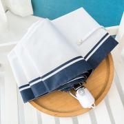 Зонт Женский облегченный зонт, с защитой от УФ, 8 спиц, белый с синим кантом