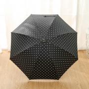 Зонт Женский облегченный зонт-трость, с защитой от УФ, ветрозащитный, 8 спиц, в стиле ретро, мелкий горох (черный)
