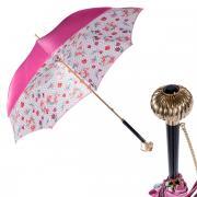 Зонт-трость женский механический Pasotti Fuxia Dots Flowers Globe белый/розовый