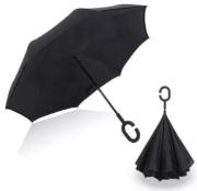 Умный зонт наоборот Up brella (чёрный без рисунка)