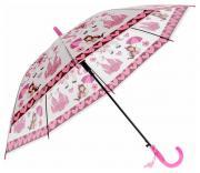 Зонт-трость Принцесса полуавтоматический со свистком розовый