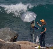 Зонтик на этюдник с телескопической опорой на плоской струбцине