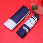 Маленький плоский зонт с защитой от УФ, 6 спиц, Япония (синий с белой кромкой)
