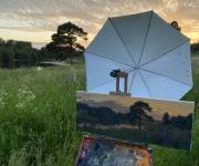 Зонтик на этюдник с плоской струбциной