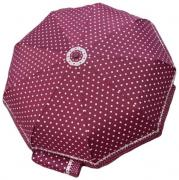 Женский зонт автомат Popular бордовый в горошек AM060306