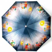 Зонт подростково-женский автоматический Diniya 2270 (Сине-бежевый)