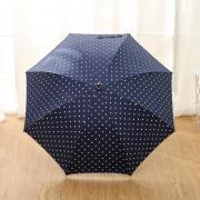 Зонт Женский облегченный зонт-трость, с защитой от УФ, ветрозащитный, 8 спиц, в стиле ретро, мелкий горох (синий)
