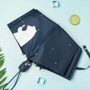 Зонт Женский облегченный зонт, с защитой от УФ, 8 спиц, принт- Медведь (синий)