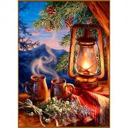 """Алмазная мозаика """"Таежный вечер"""", 21*29 см, 32 цвета"""