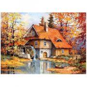 Алмазная мозаика Цветной ''Дом с водяной мельницей'' (30х40) на подрамнике le094