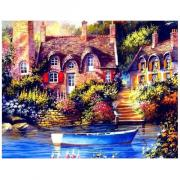 Алмазная мозаика Цветной ''Причал у дома'' (40х50) на подрамнике lg072