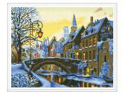 Набор для творчества Molly Алмазная мозаика с нанесенной рамкой Самоцветы Зимний вечер 40x50cm KM0110
