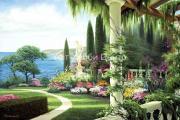 Картина стразами Сад у моря 50х70см Алмазная живопись