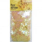 Пайетки россыпью цвет №20 желтый светлый снежинки 25мм 50г Magic&Hobby