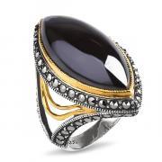 Серебряное кольцо ALEXANDRE VASSILIEV с гематитом, марказитами Swarovski и позолотой TJR320