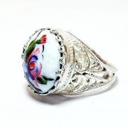 """Кольцо с финифтью """"Дуэт"""" Ирисы на белом фоне арт. 7276"""