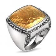 Серебряное кольцо ALEXANDRE VASSILIEV с марказитами Swarovski и позолотой TJR338