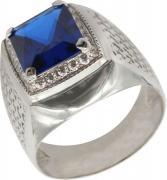 Серебряные кольца Маршал KM-142/2-fianit-sinij