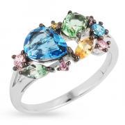 Серебряное кольцо с иск.топазом,аметистом,перидотом и кварцем PJR006