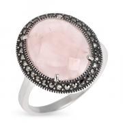 Серебряное кольцо ALEXANDRE VASSILIEV с розовым кварцем и марказитами Swarovski TJR056