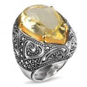 Серебряное кольцо ALEXANDRE VASSILIEV с лимонным кварцем, марказитами Swarovski и позолотой TJR318
