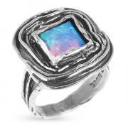 Серебряное кольцо Yaffo с синт. опалом SAR392
