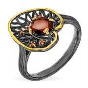 Серебряное кольцо Karluv Most с гранатом. чернением, позолотой и цветными сапфирами RNR506