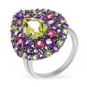Серебряное кольцо Sandara с лимонным кварцем, аметистами и родолитами RNR479