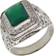 Серебряные кольца Маршал KM-46/2-zelenyj-agat