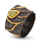 Серебряное с позолотой кольцо с нефритом 71801068n