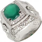 Серебряные кольца Маршал KM-141/3-zelenyj-agat