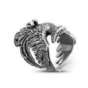 Серебряное кольцо Феникс, чернение, размер 18,5 мм