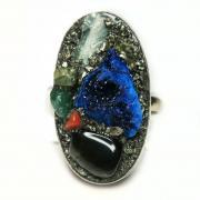 Кольцо с азуритом, агатом, аквамарином, пиритом 1490-nr